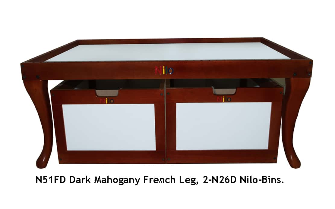 N51FD Nilo Train Table Activity Table, Dark Mahogany, French Legs.